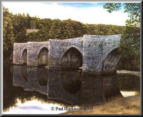 Oil painting of Staverton Bridge